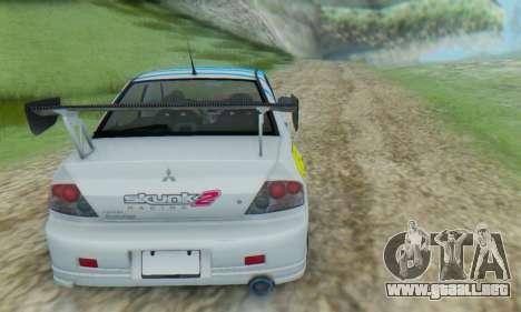 Mitsubishi Lancer Turkis Drift Aem para la visión correcta GTA San Andreas
