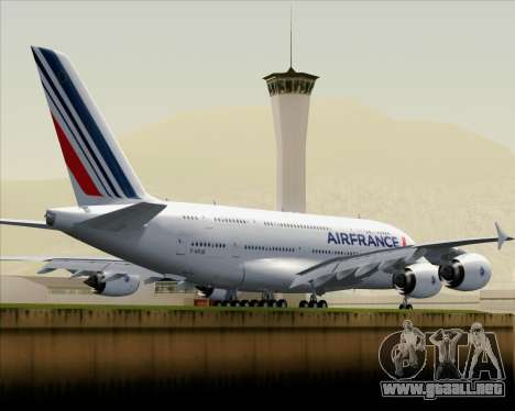 Airbus A380-861 Air France para GTA San Andreas vista hacia atrás