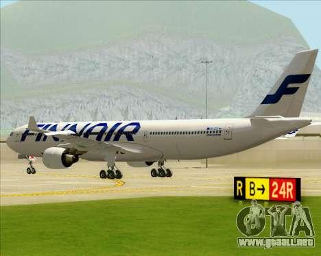 Airbus A330-300 Finnair (Current Livery) para GTA San Andreas vista hacia atrás