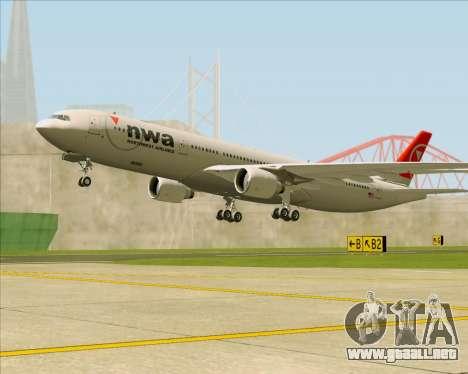 Airbus A330-300 Northwest Airlines para las ruedas de GTA San Andreas