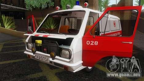 RAF 22031 Letonia - Ambulancia para visión interna GTA San Andreas