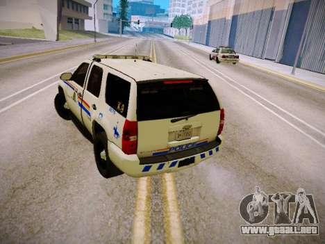 Chevrolet Tahoe 2007 RCMP para la visión correcta GTA San Andreas