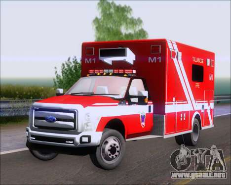 Ford F-350 Super Duty TFD Medic 1 para GTA San Andreas left