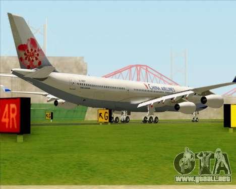 Airbus A340-313 China Airlines para GTA San Andreas vista posterior izquierda