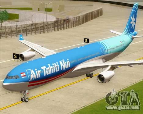 Airbus A340-313 Air Tahiti Nui para GTA San Andreas vista hacia atrás