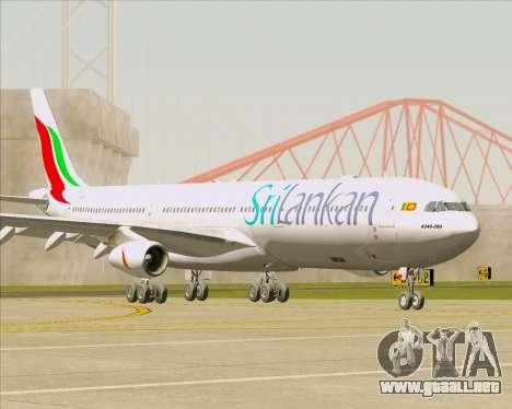 Airbus A340-313 SriLankan Airlines para GTA San Andreas vista posterior izquierda