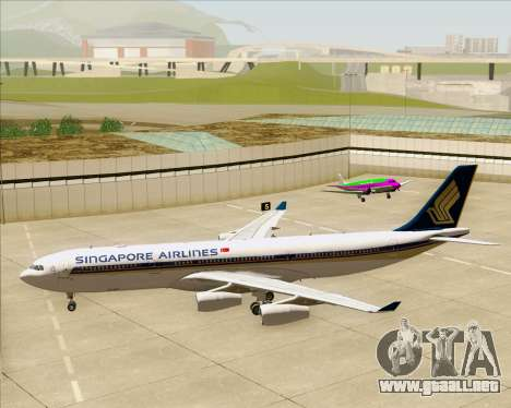 Airbus A340-313 Singapore Airlines para vista inferior GTA San Andreas