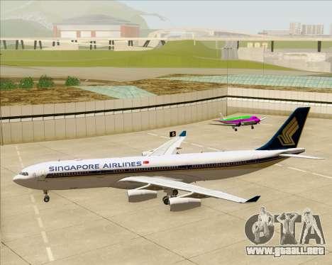 Airbus A340-313 Singapore Airlines para vista inferior GTA San Andreas