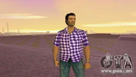 Kockas polo - lila T-Shirt para GTA Vice City