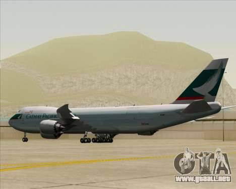 Boeing 747-8 Cargo Cathay Pacific Cargo para la visión correcta GTA San Andreas