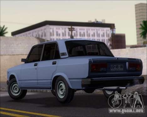 LADA 2107 para GTA San Andreas vista posterior izquierda