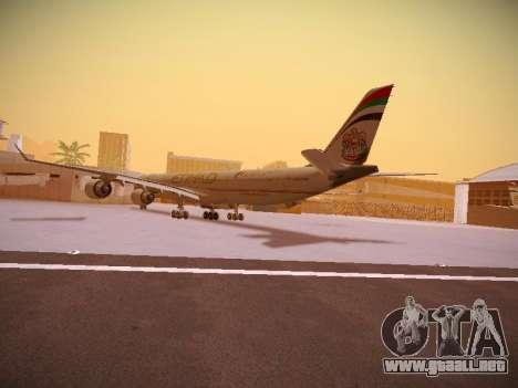 Airbus A340-600 Etihad Airways para GTA San Andreas vista posterior izquierda