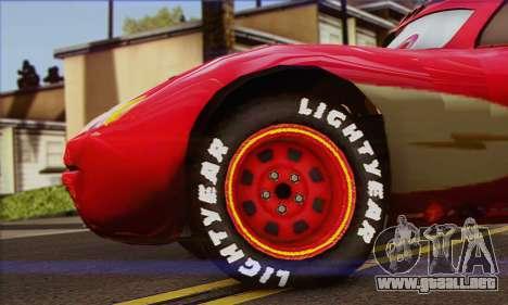 Lightning McQueen Radiator Springs para GTA San Andreas vista posterior izquierda