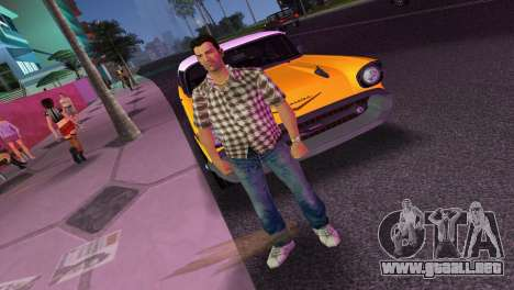 Kockas polo - barna T-Shirt para GTA Vice City