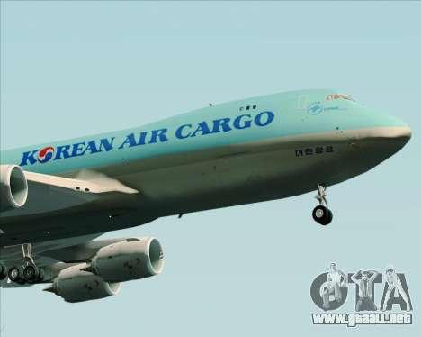 Boeing 747-8 Cargo Korean Air Cargo para GTA San Andreas vista hacia atrás