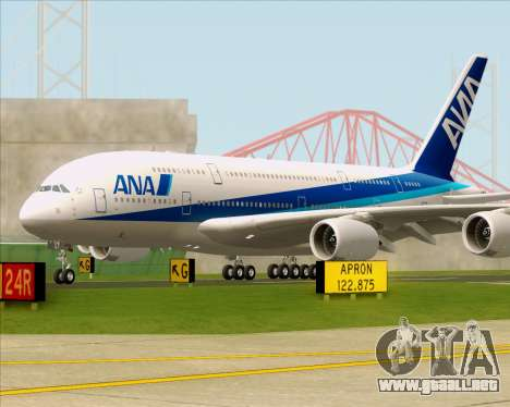 Airbus A380-800 All Nippon Airways (ANA) para GTA San Andreas vista hacia atrás