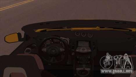 Nissan 370Z Roadster para GTA San Andreas vista posterior izquierda