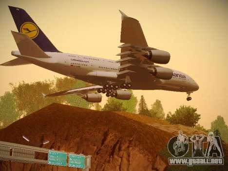 Airbus A380-800 Lufthansa para GTA San Andreas vista hacia atrás