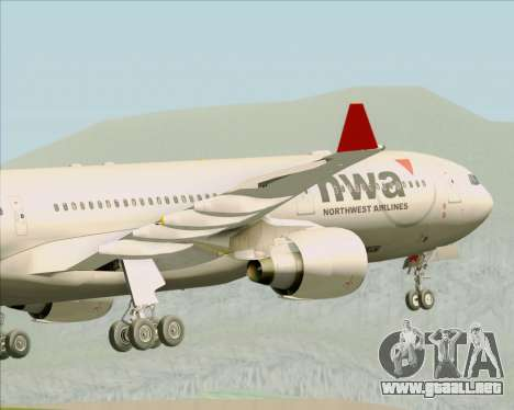 Airbus A330-300 Northwest Airlines para vista inferior GTA San Andreas