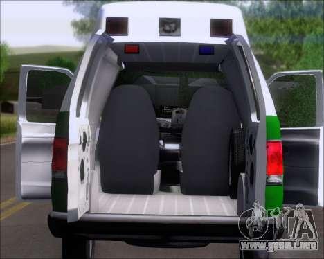 Ford E-150 Labocar para GTA San Andreas vista hacia atrás