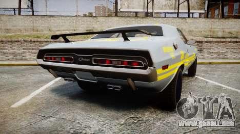 Dodge Challenger 1971 v2.2 PJ4 para GTA 4 Vista posterior izquierda