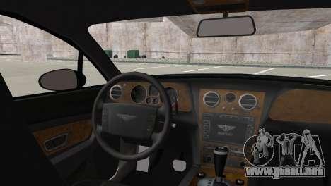 Bentley Continental GT Mansory para GTA San Andreas vista posterior izquierda