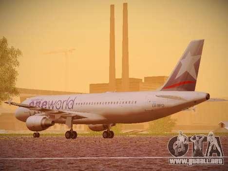 Airbus A320-214 LAN Oneworld para GTA San Andreas vista posterior izquierda