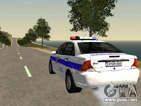 Ford Focus de Policía de la región de Nizhny Nov para GTA San Andreas vista posterior izquierda