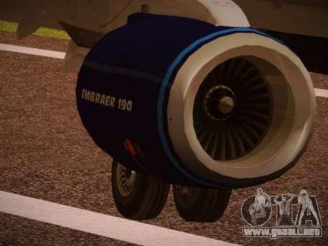 Embraer E190 Azul Tudo Azul para la vista superior GTA San Andreas