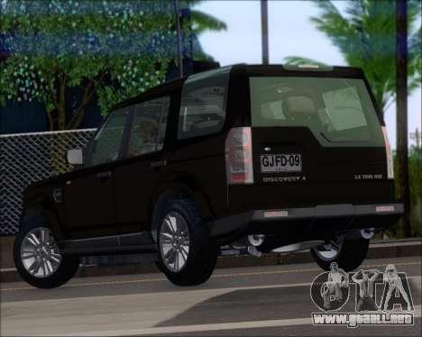 Land Rover Discovery 4 para GTA San Andreas vista posterior izquierda