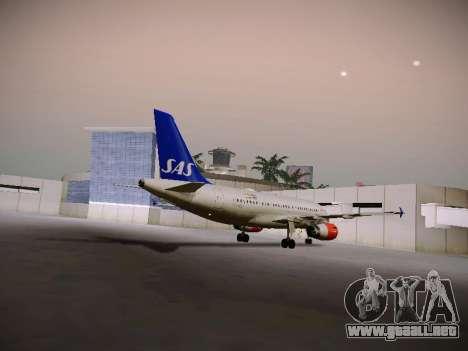 Airbus A319-132 Scandinavian Airlines para GTA San Andreas vista hacia atrás