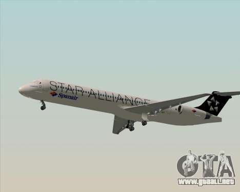 McDonnell Douglas MD-82 Spanair para vista lateral GTA San Andreas