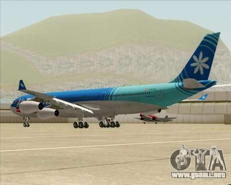 Airbus A340-313 Air Tahiti Nui para GTA San Andreas vista posterior izquierda