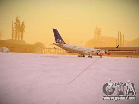 Airbus A340-300 Scandinavian Airlines para GTA San Andreas vista hacia atrás