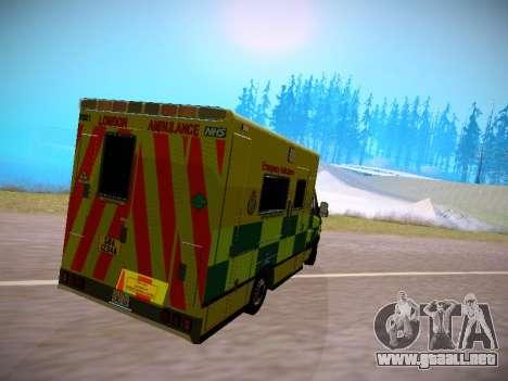 Mercedes-Benz Sprinter London Ambulance para GTA San Andreas vista posterior izquierda