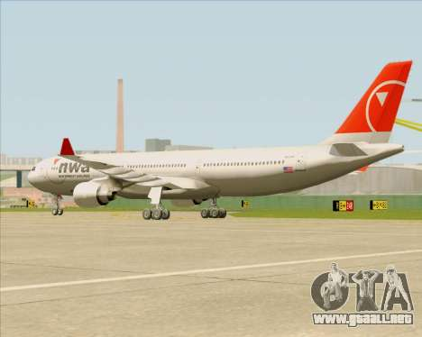 Airbus A330-300 Northwest Airlines para visión interna GTA San Andreas