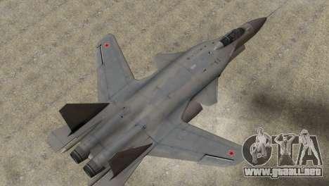 Sukhoi SU-47 Berkut from H.A.W.X. 2 Stealth Skin para GTA San Andreas vista posterior izquierda