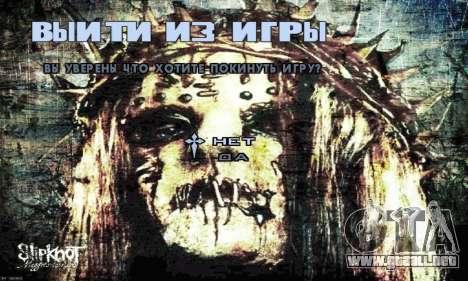 Metal Menu - Slipknot para GTA San Andreas sucesivamente de pantalla