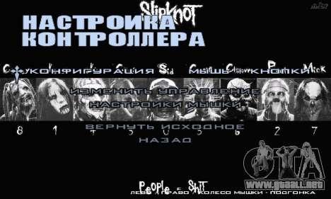 Metal Menu - Slipknot para GTA San Andreas quinta pantalla