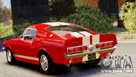 Shelby Cobra GT500 1967 para GTA 4 vista hacia atrás