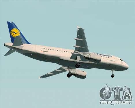 Airbus A320-211 Lufthansa para la vista superior GTA San Andreas