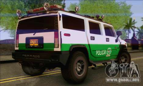 Hummer H2 Colombian Police para GTA San Andreas left