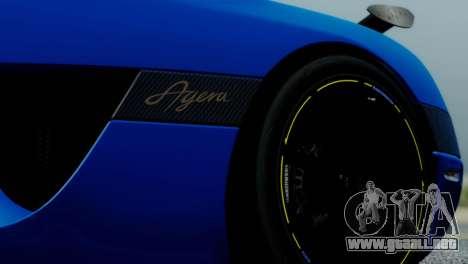 Koenigsegg Agera R para GTA San Andreas vista hacia atrás