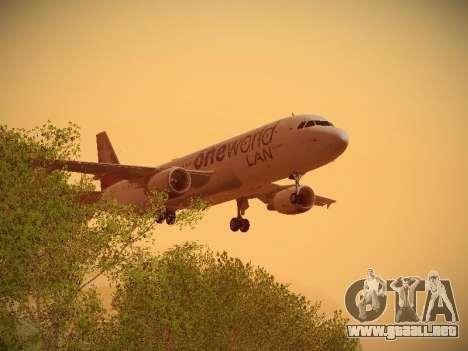 Airbus A320-214 LAN Oneworld para vista inferior GTA San Andreas