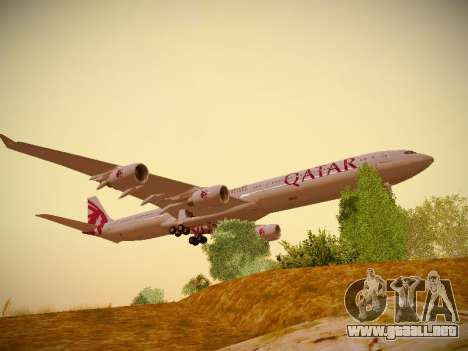 Airbus A340-600 Qatar Airways para GTA San Andreas left