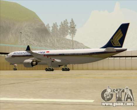 Airbus A330-300 Singapore Airlines para GTA San Andreas vista hacia atrás