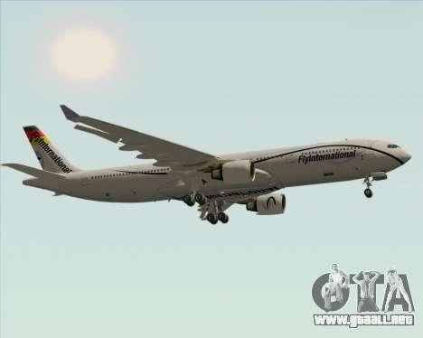 Airbus A330-300 Fly International para GTA San Andreas vista hacia atrás