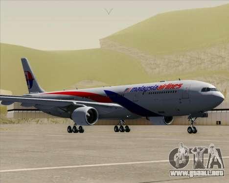 Airbus A330-323 Malaysia Airlines para GTA San Andreas vista posterior izquierda