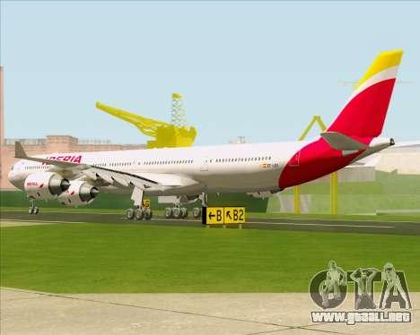 Airbus A340-642 Iberia Airlines para GTA San Andreas vista posterior izquierda
