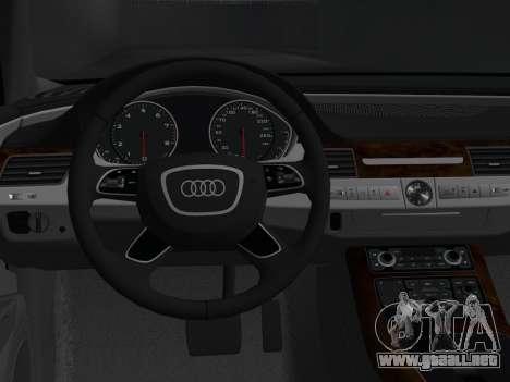 Audi A8 2010 W12 Rim6 para GTA Vice City visión correcta
